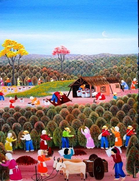 VALQUIRIA BARROS TEMA CAFÉ BRASIL A VENDA COM AJUR SP (Painting), 40x30 cm por Arte Naif AJUR SP VENDEDOR E DIVULGADOR DA ARTE NAIF BRASILEIRA: