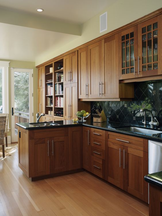 Oak cabinets, Cabinets and Black countertops on Pinterest on Maple Cabinets With Black Countertops  id=14836