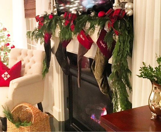 Fresh Garland On Mantle Christmas And Holiday Decor On A