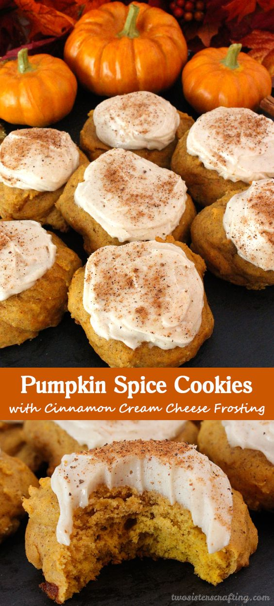 Pumpkin Spice Cookies with Cinnamon Cream Cheese Frosting are the perfect Fall Cookies and a wonderful choice for a Christmas Cookie Exchange. This cookie tastes just like Pumpkin Pie which makes it a great Thanksgiving Dessert idea. And with the delicious frosting they will look beautiful on your Christmas Dessert Table. Follow us for more great Christmas Food ideas.: