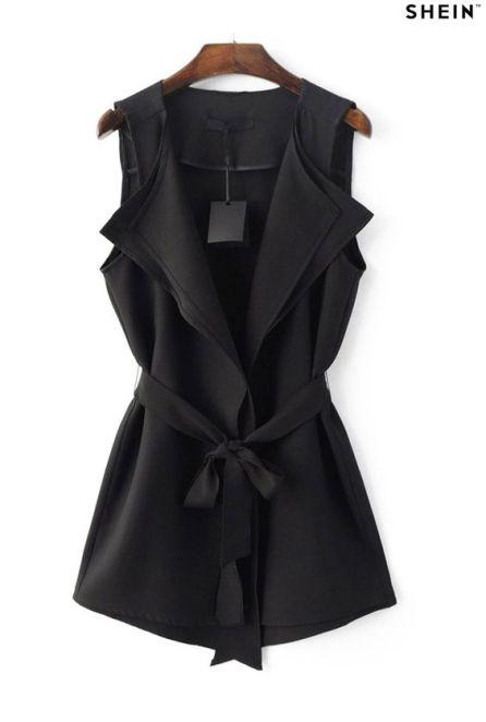 Black Tie-Waist Bow Vest Outerwear: