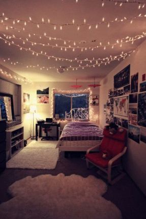 Lights on bed frame and hanging from the ceiling: