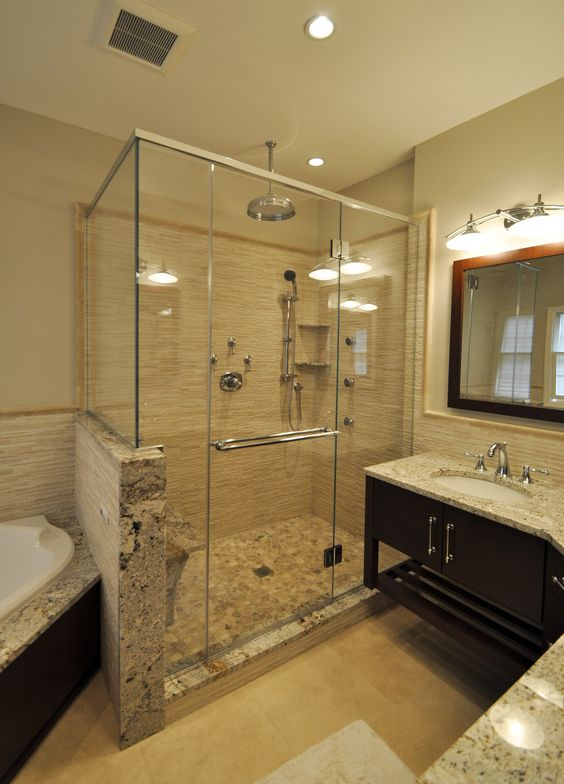 Stand Up Shower With Rain Head Body Sprays Bench Seat