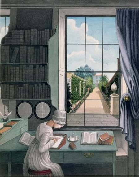 Writing a letter on a writing slope. Thomas Pole, In the Library, St James's Square, Bristol c. 1805-6: