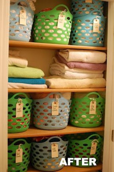 How to (finally) organize your linen closet - use baskets and bins