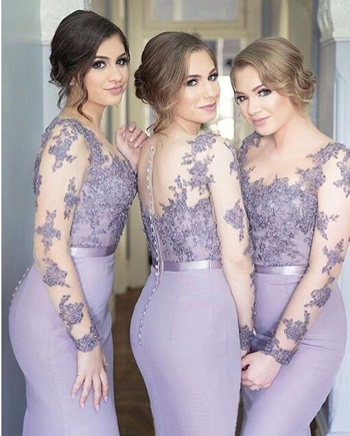 Long Sleeves Bridesmaid Dresses,Mermaid Bridesmaid Dress,Scoop Lilac bridesmaid…: