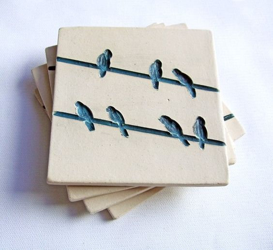 Bird on a Wire Coasters, Blue and White (Ceramic, Pottery ...