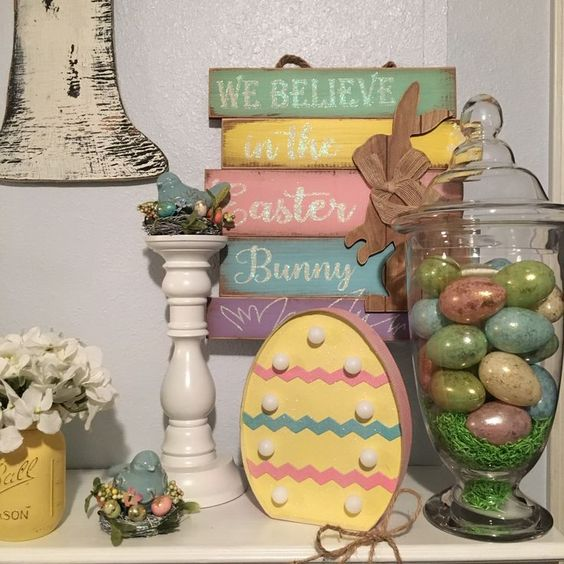 Pretty Pastel Easter/Spring Mantle with Egg Light: