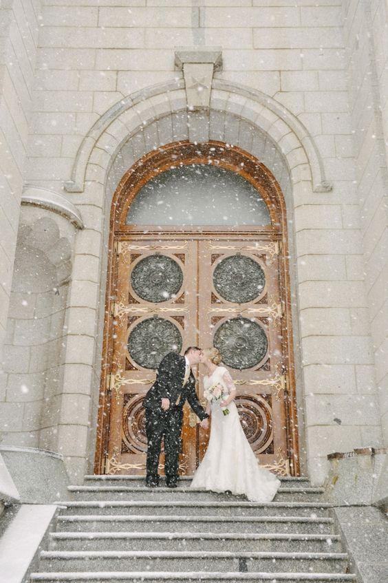 Salt Lake Temple winter wedding photos.: