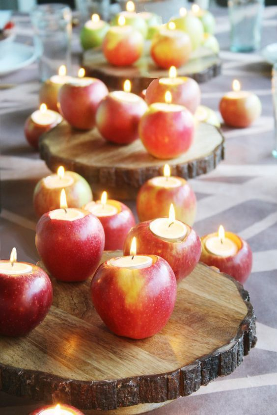 Fall Apple Wedding Centerpieces and Tablescapes / http://www.himisspuff.com/apples-fall-wedding-ideas/6/: