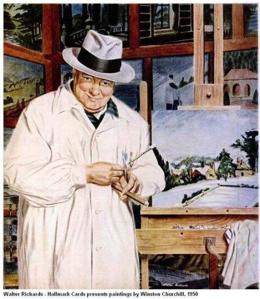 Winston Churchill by Walter Richards, 1950. Richards painted Churchill (and included some of Churchill's own paintings in the background) for a set of Churchill cards issued by Hallmark Cards. ~via TI Group, FB: