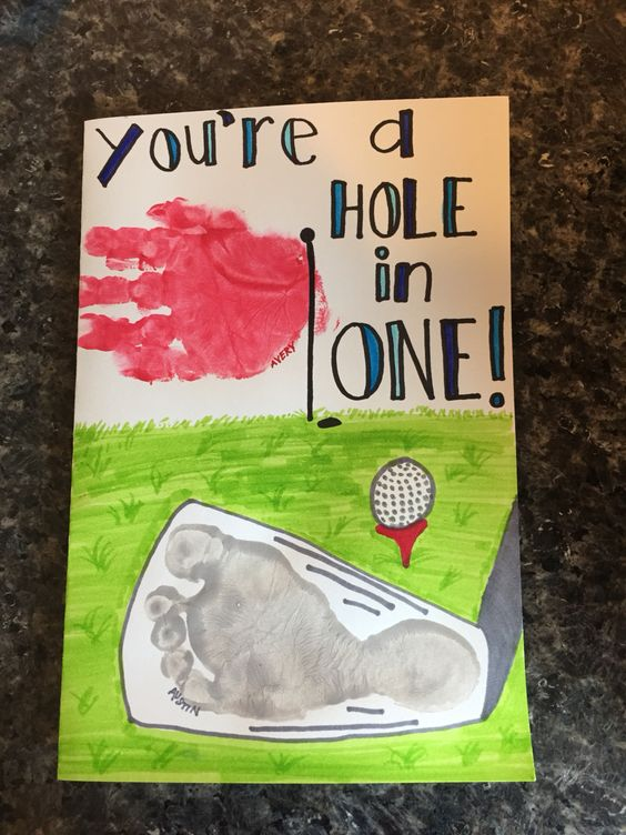 Father's Day card. Hole in one. Golf club footprint, golf flag handprint: