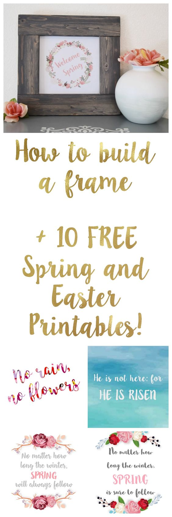 How to build a picture frame. DIY frame with stain. 10 Free Spring and Easter Printables!!!: