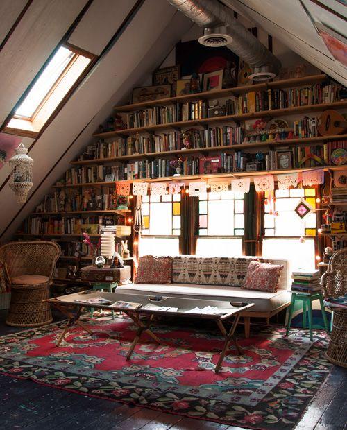 A frame, floor to ceiling library - Bishop Allen Home Tour on Design*Sponge: