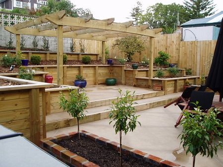 Deck at back of yard... interesting solution for slopes ... on Uphill Backyard Ideas  id=90503