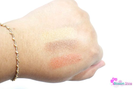 Swatches eyeshadow F2F, Sweet Cocoa, top to bottom - gold, brown & reddish orange