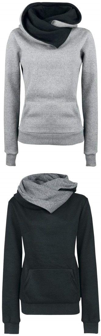 Azbro Women's Solid Color Long Sleeve Hooded Sweatshirt: