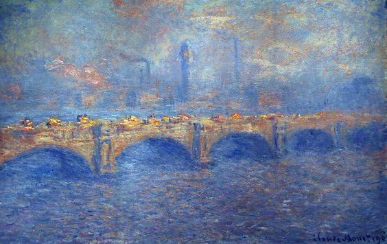 """lonequixote: """"Waterloo Bridge, Sunlight Effect by Claude Monet """":"""