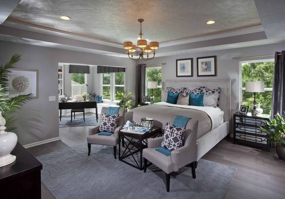 From The Dream Model Home We SawI Like The Gray Walls With The Dark Furniture And Teal