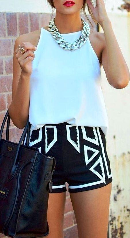 Gorgeous! Aqua is so perfect for summer! Aqua tank with tribal black and aqua shorts. Womens teen spring summer fashion clothing: