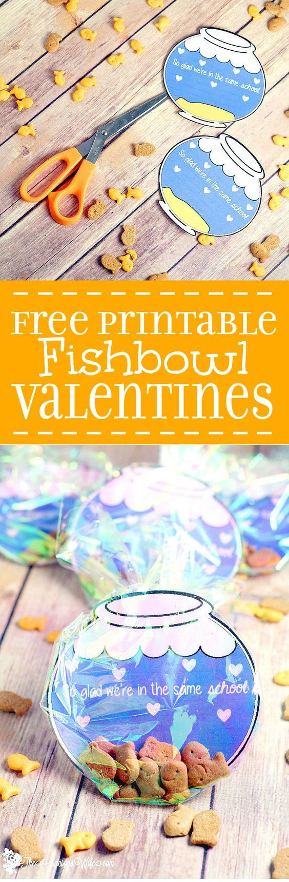 DIY Fishbowl Valentine FREE Printables via The Gracious Wife - Cute homemade Valentine's Day idea for kids to make for school. Plus FREE printables to make your own at home! So cute!