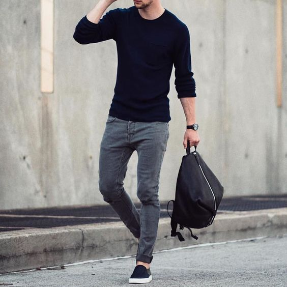 Black sweater gray jeans and #slipons by @marcelfloruss [ http://ift.tt/1f8LY65 ] #royalfashionist @marcosdeandradeofficial