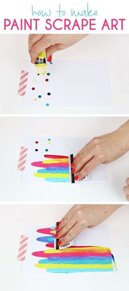How to make paint scrape art notecards. Fun and simple DIY art project idea for kids.