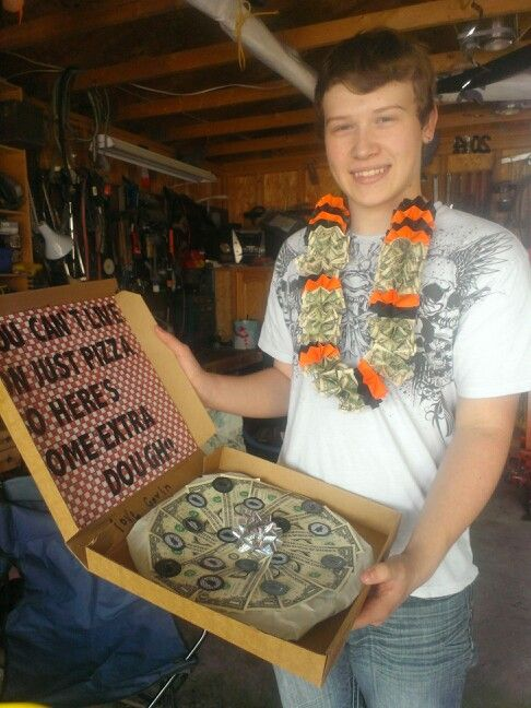 Alex With His Money Lei And His Pizza Graduation Gifts