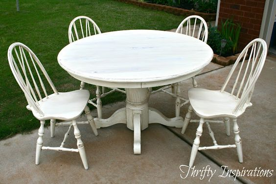 Thrifty Inspirations: Distressed Pedestal Table