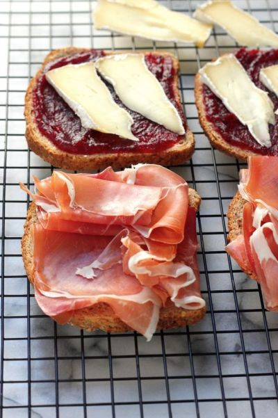 Cranberry, Brie, and Prosciutto Grilled Cheese.  Great use for leftover cranberry sauce!: