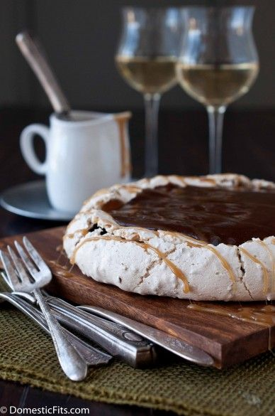 Toasted Coconut Pavlova with Cocoa Pudding and Caramel Sauce:
