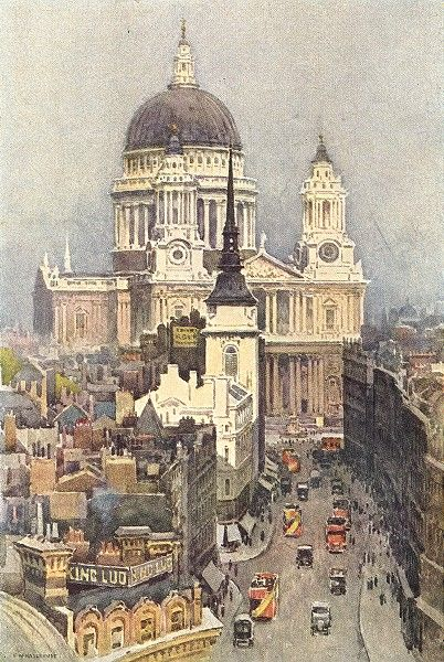 St Pauls And Ludgate Hill London 1920 By Ernest