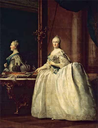 В.Эриксен. Портрет Екатерины II перед зеркалом. Около 1763 года. ГЭ: