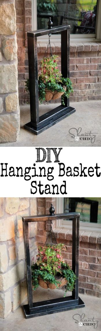 DIY Woodworking Free Plans & Instructions DIY Hanging Basket Stand