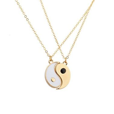 Lux Accessories Goldtone & White Yin Yang Peace One With…: