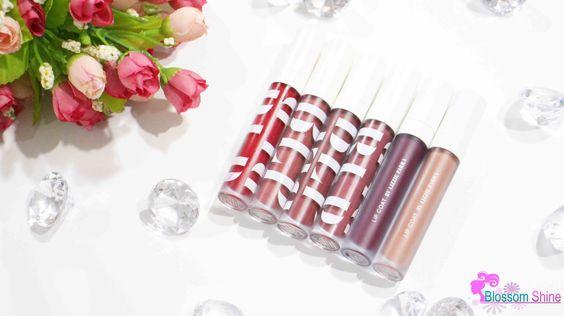 BLP Lip Coat (L-R): Candy Apple. Persimmon Pie, Lavender Cream, Beet Root, Red Velvet & Butter Fudge