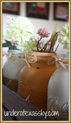 Monday Mish Mash Link Party #33 Feature:  Distressed Mason Jars @ Under a Texas Sky