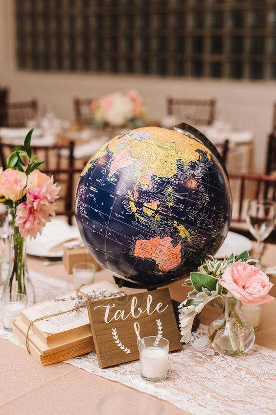 vintage navy blue globe wedding centerpiece…:
