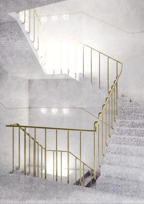 Terrazzo staircase + brass hand rail.: