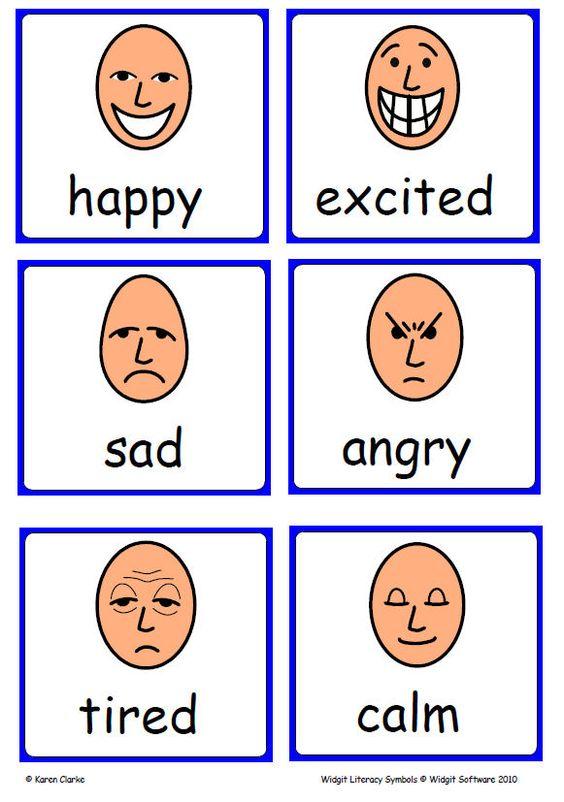 Widgit Emotions flashcards - lots of useful symbols ...