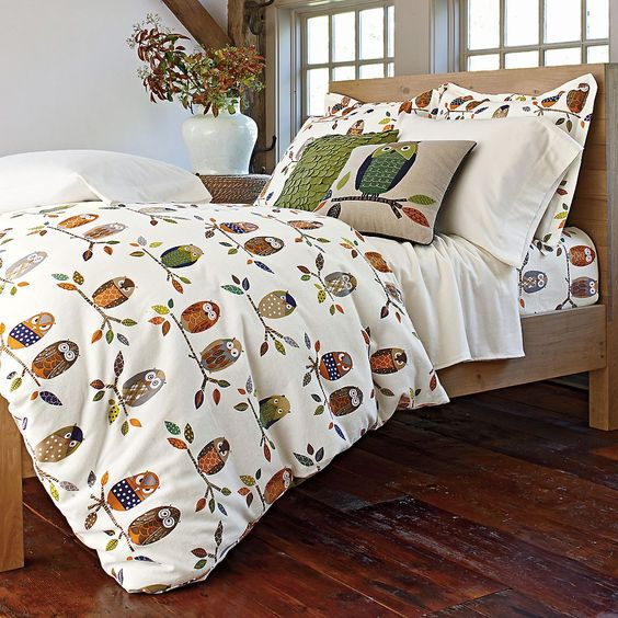 Owl Flannel Duvet Cover Amp Sham The Company Store