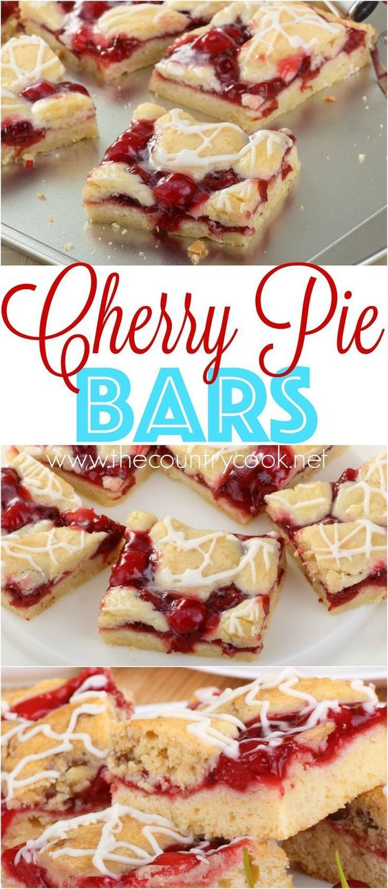 Cherry Pie Bars Dessert Recipe via The Country Cook - A homemade recipe that is easy to make and serve. Everyone loves them! Switch out the pie filling to easily change up the recipe!