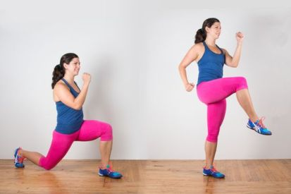 Reverse Lunge Knee-Up #lunge #bodyweightexercise #bodyweight http://greatist.com/move/lunge-variations-you-need-to-know: