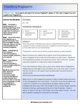 Lesson Plans Fingerprints And Worksheets