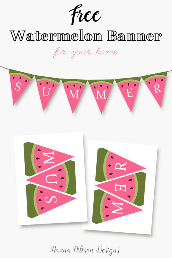 Free Summer Art and Decor Printables - Watermelon SUMMER printable banner via Hanna Nilsson Design - Decorate your home for summer with this cute and free banner.