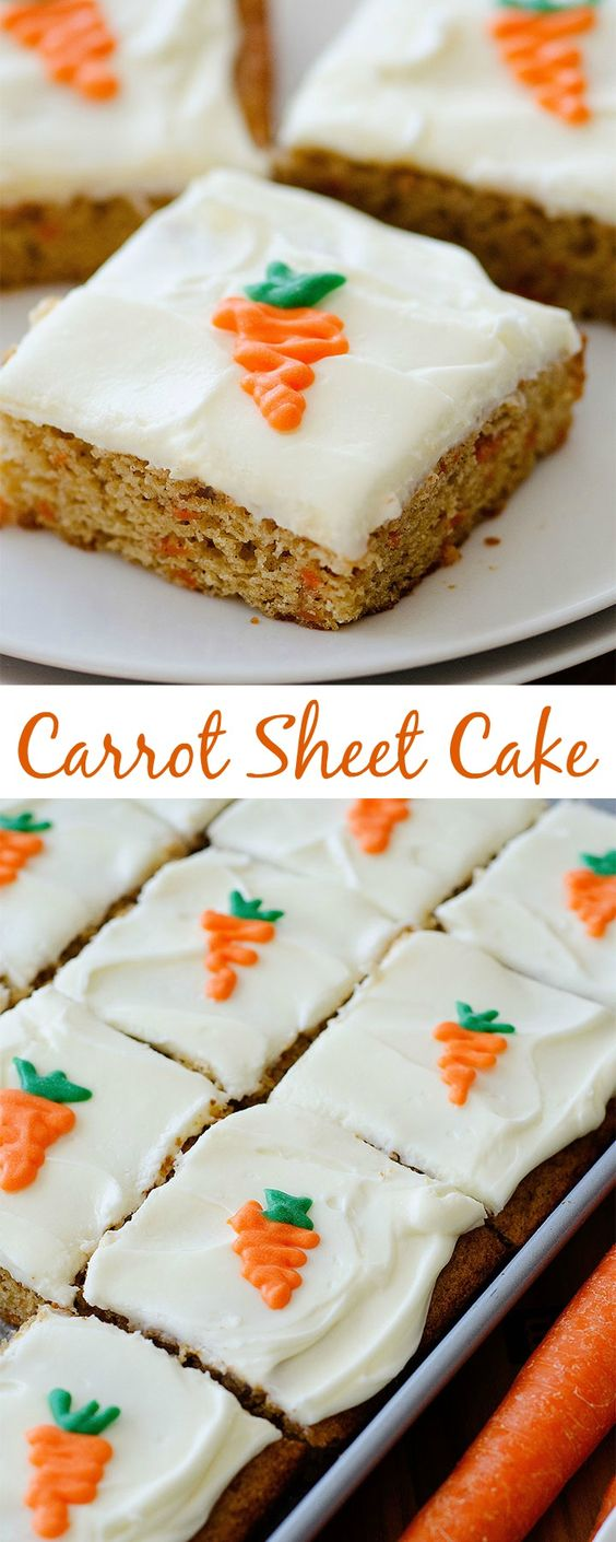 Carrot Sheet Cake with Cream Cheese Frosting Dessert Recipe via Life in the Lofthouse - Perfect for Easter Brunch! An incredibly delicious carrot cake that can serve a crowd! The Best EASY Sheet Cakes Recipes - Simple and Quick Party Crowds Desserts for Holidays, Special Occasions and Family Celebrations