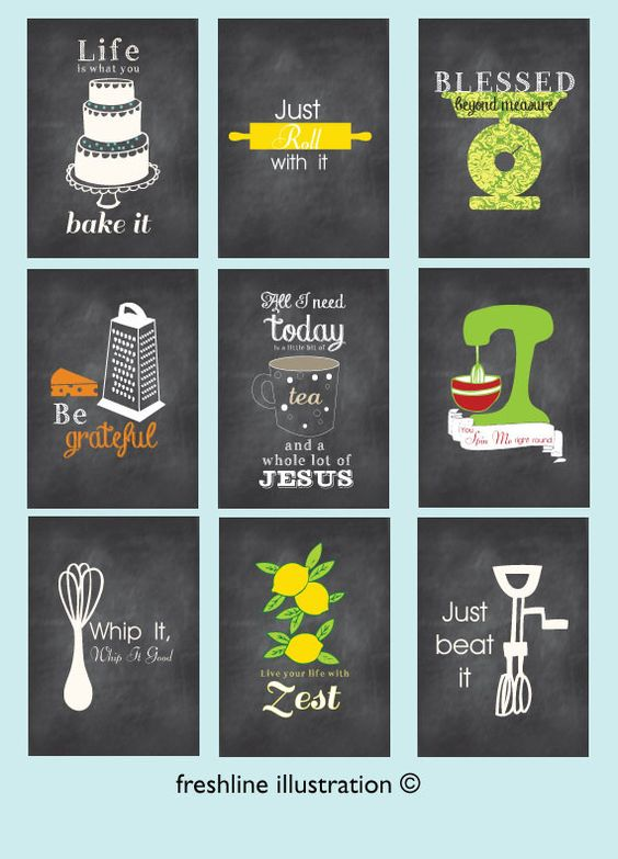 kitchen wall art set of 9 art prints funny kitchen posters chalkboard inspired style on kitchen decor paintings prints id=15327