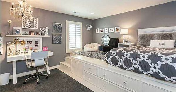 Gray And White Bedroom Lifted Bed Built In Storage
