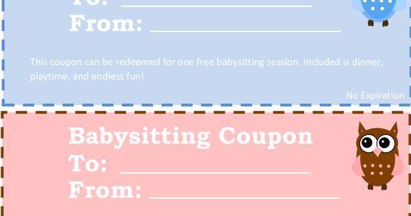 Printable Babysitting Coupons Free Baby Sitting Voucher