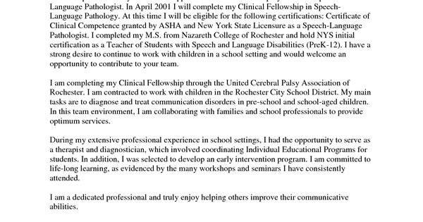 Cover Letter For Speech Language Pathologist Assistant View Notes Informative Speech Cover